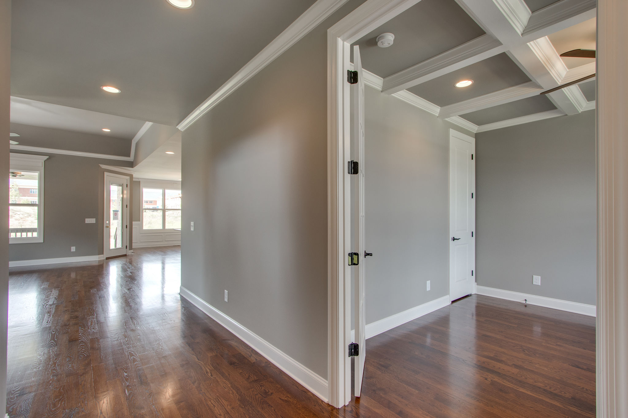 First Floor Office with Coffered Ceiling